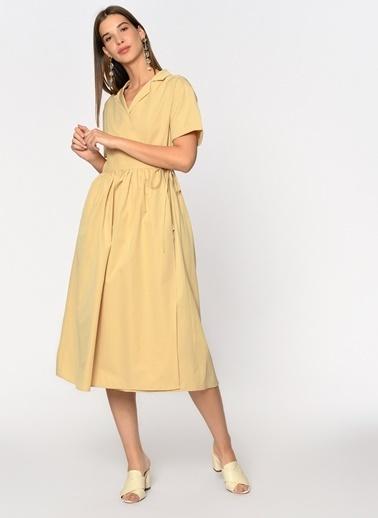Loves You Sırtı Apolet Detaylı Poplin Gömlek Elbise Camel